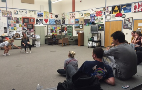 ComedySportz team members rehearse for their upcoming game Dec. 18 (Akshita Dondeti/Talon).