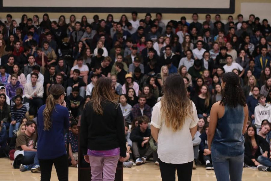 +The+Peer+Counselor+Team+addresses+student+body+during+school+wide+assembly%2C+Jan.+17.+Counselors+teamed+up+with+the+Anti-Defamation+League+along+with+key+speaker+Judy+Shepard+who+spoke+about+her+son+Matthew%27s+murder+to+raise+awareness+about+the+LGBT+community+%28Courtesy+of+Jaron+Flynn%29.