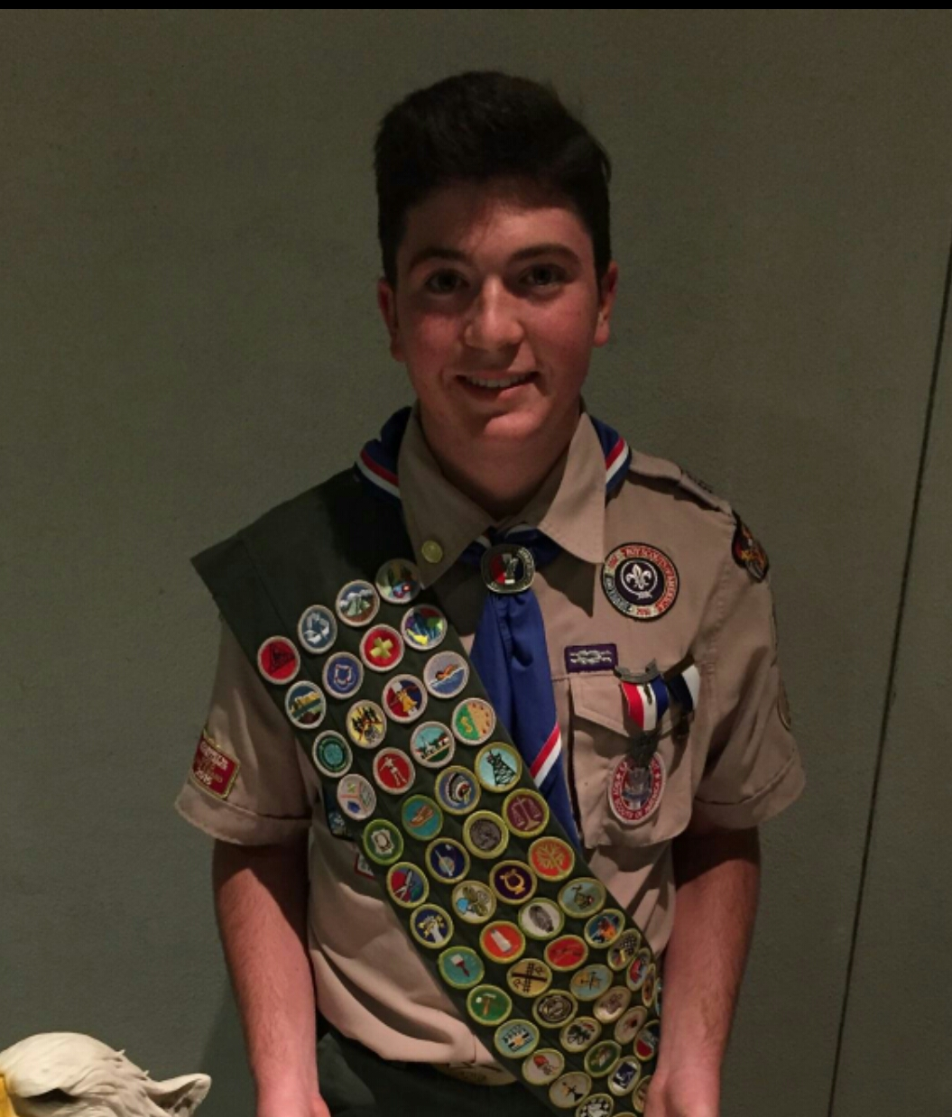 Justin Zilberstein wearing his full Eagle Scout uniform.