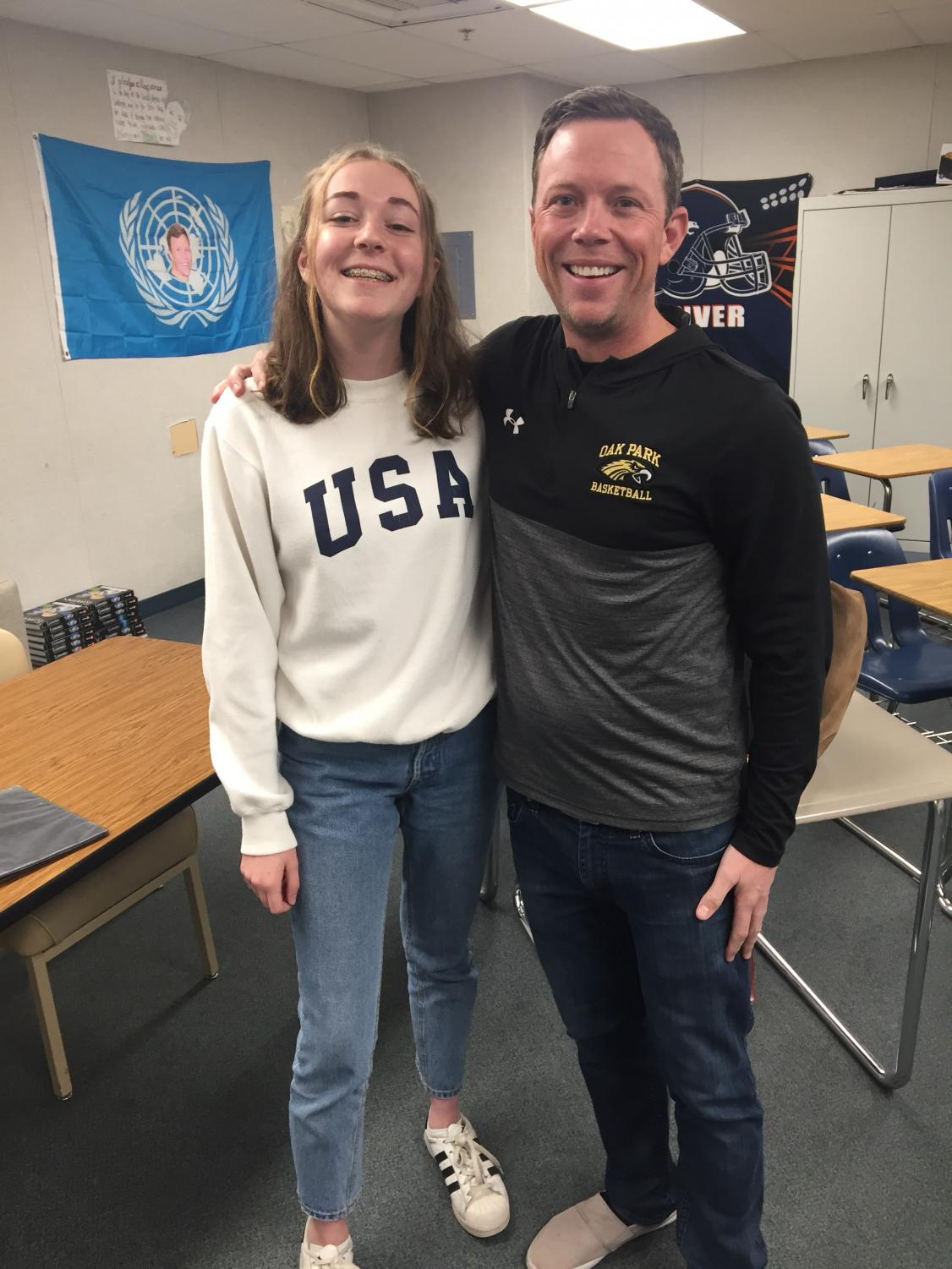 Mr. Cook with summer school student Megan Johnson