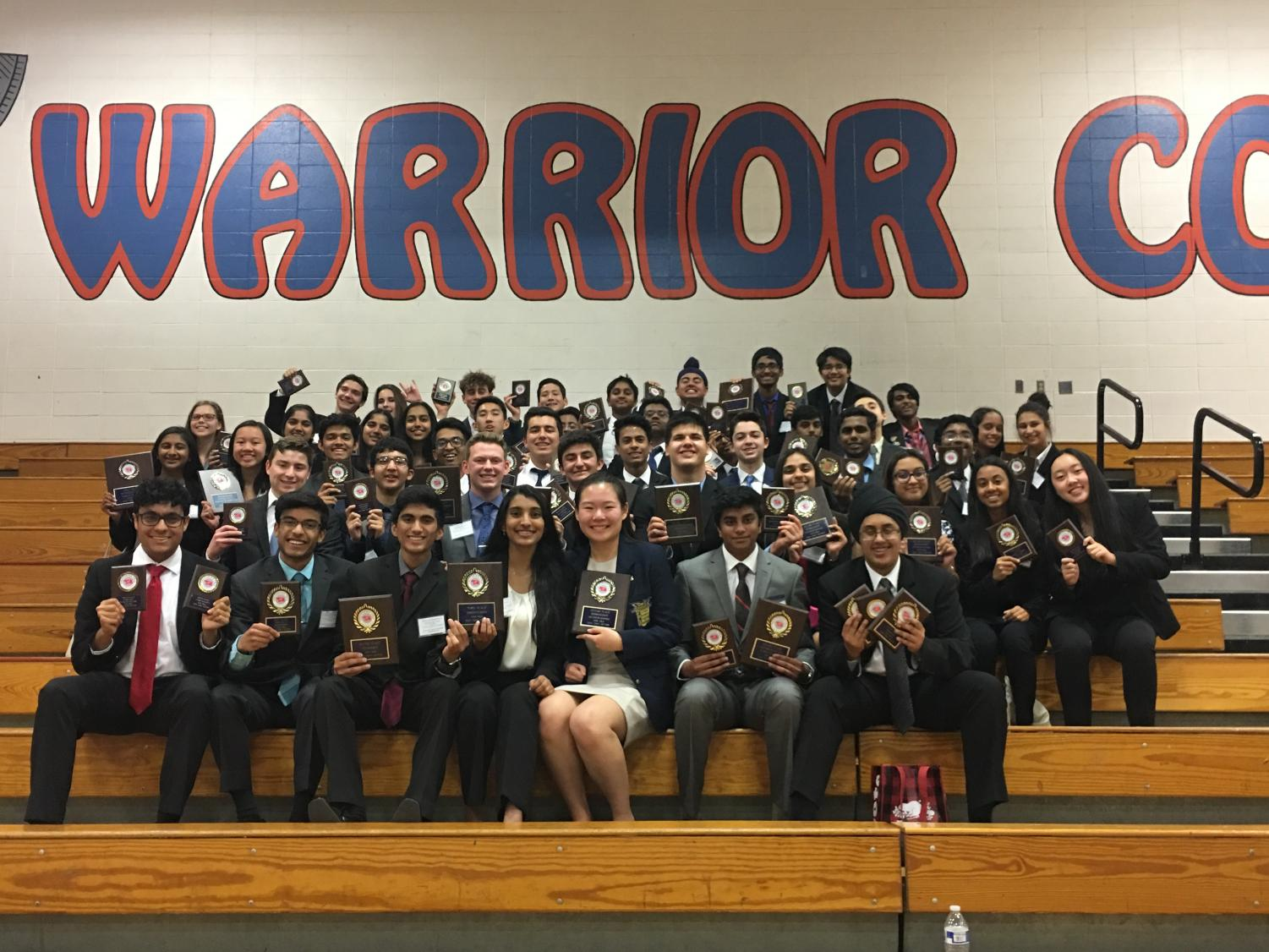 Members of FBLA display their awards. The FBLA team won third place at a regional conference.