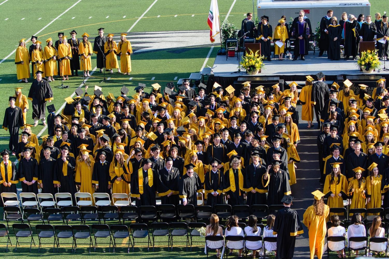 Students graduate Oak Park high school in 2016.