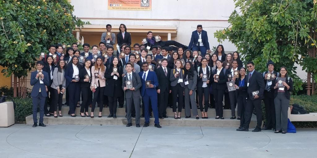 The members of FBLA gather after competition where they placed second.