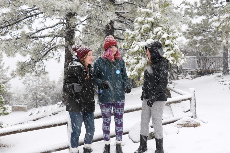 Snow+falls+during+the+second+day+of+the+second+Life+Skills+retreat.+Seniors+Arielle+Markowicz%2C+Cassidy+Bloss+and+Sarah+Miller.+