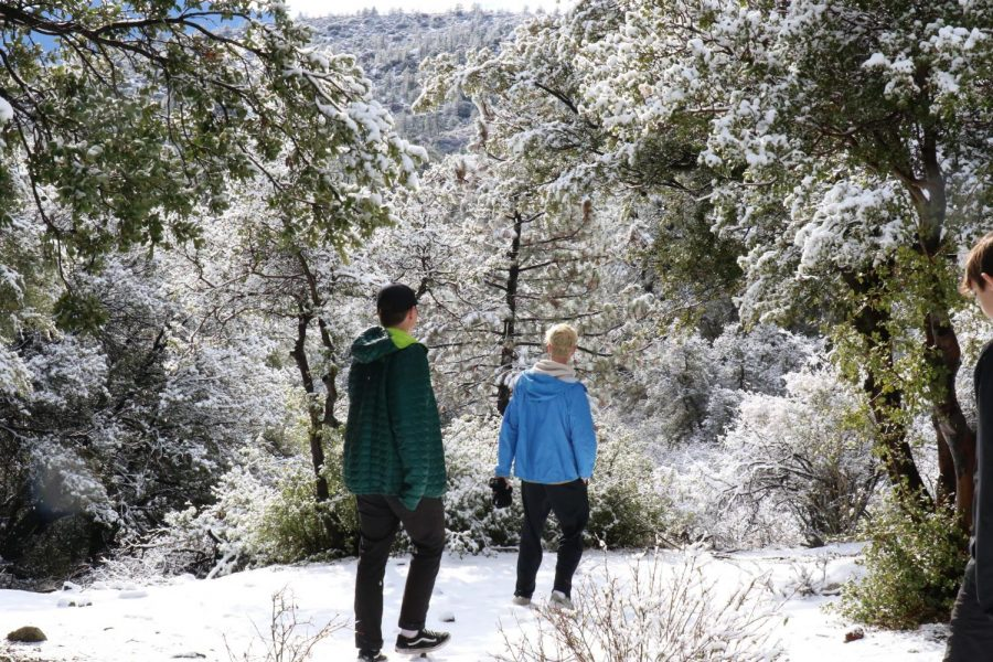 Seniors+Marcus+Jasso+and+Justin+Jordan+enjoy+snow+during+the+second+Life+Skills+Retreat+at+Angeles+Crest+Christian+Camp+during+recreation+time