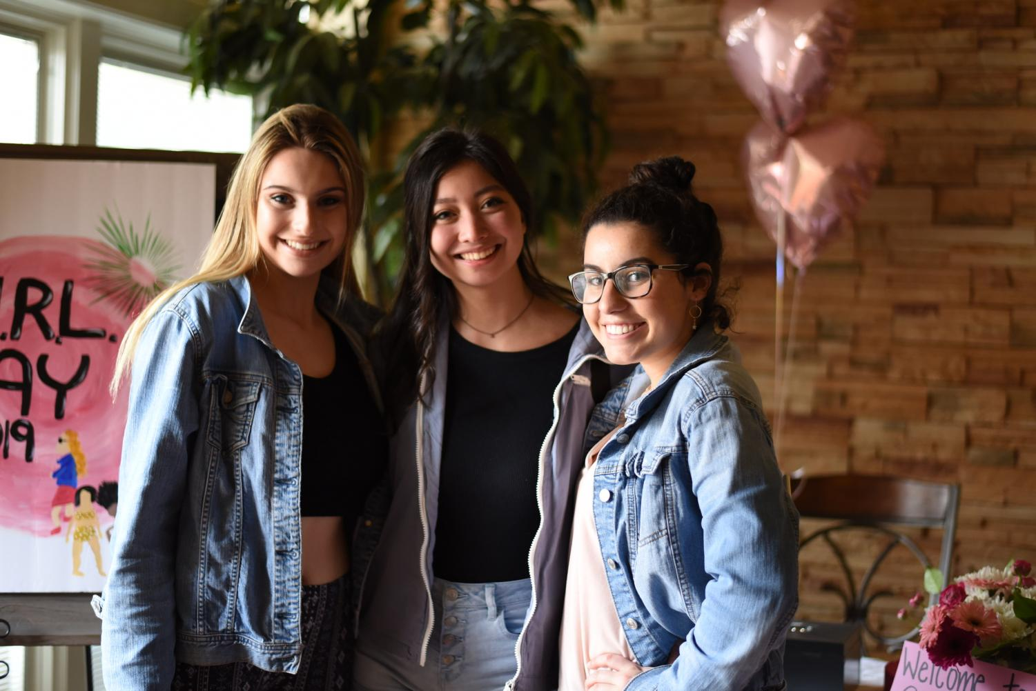 Pictured are (left to right) seniors Carly Friedlander, Sabrina Stone and Quinn Conahan. Conahan hosted GIRL Day, an event meant to inspire women to be authentic and not change because of any pressures.