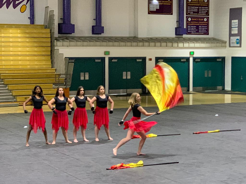 Color guard team won their first competition on March 23 at Valencia High School.