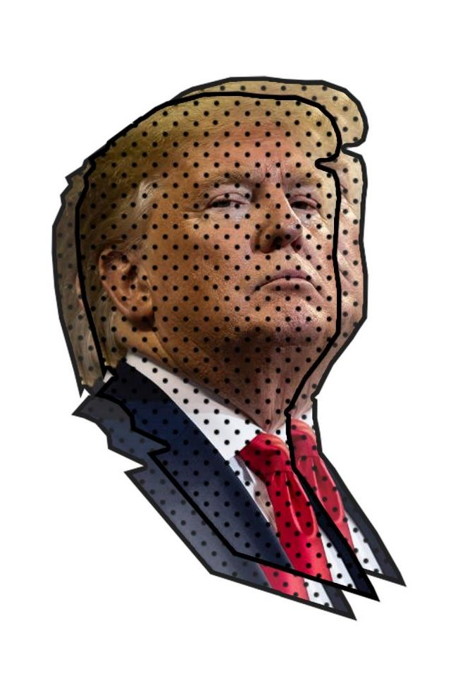 A graphic of Donald J. Trump, one of the three presidents who have faced impeachment.