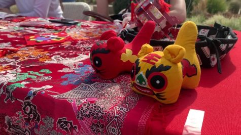 Students celebrate the Chinese New Year on the Great Lawn. Activities included traditional food, arts and crafts and a group dance performed by Chinese language students.