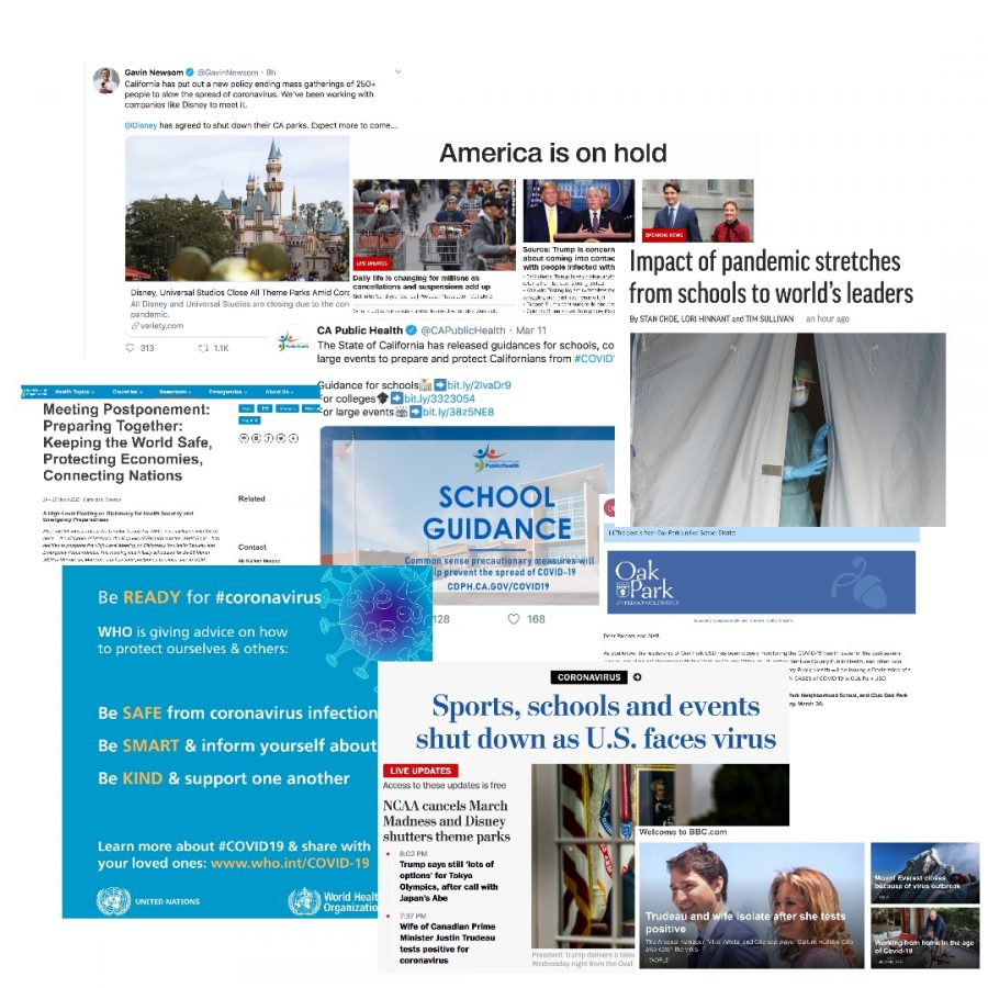 Graphic posts are drawn from the twitter account of Gavin Newsom, CA Public Health, the CNN website, the BBC website, the World Health Organization, the Washington Post website, the AP website and the CNN website.