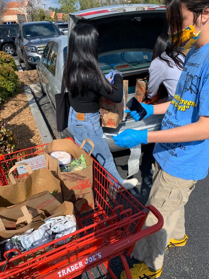 Julianna+Lozada+and+others+from+Six+Feet+Supplies+take+precautions+and+sanitary+measures+when+picking+up+groceries+for+vulnerable+in+their+neighborhood.