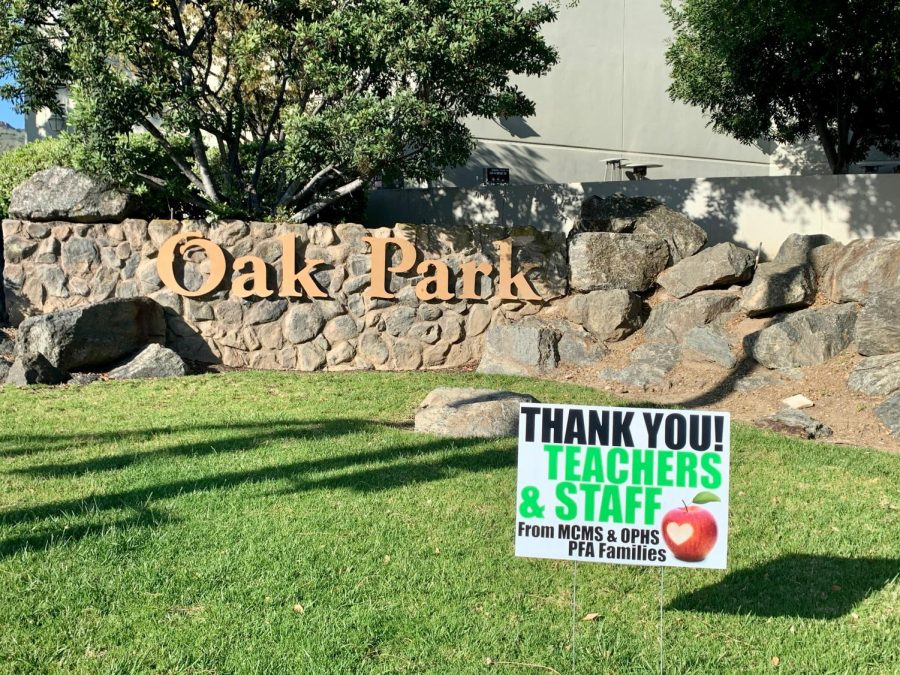 Staff appreciation signs made by MCMS PFA Hospitality Committee Co-Chair Krista Laughton placed at Oak Park High School